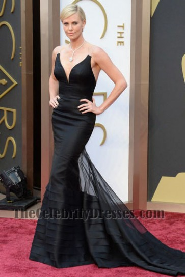 Charlize Theron Black Mermaid Formal Dress Oscars 2014 Red Carpet Gown TCD6105