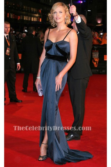 Charlize Theron Classic Blue Evening Dress 2006 BAFTA Red Carpet TCD6141