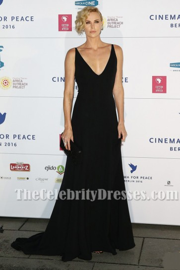 Charlize Theron Plunging Black Evening Dress Cinema For Peace gala TCD7086