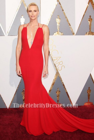 Charlize Theron Red Evening Dress 88th Annual Academy Awards Red Carpet TCD6559