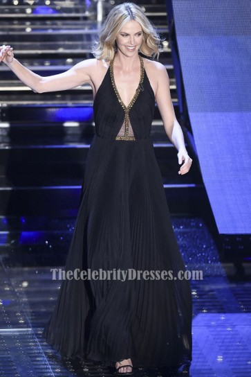 Charlize Theron Sexy Black Backless Evening Gown Sanremo 2015 TCD6042