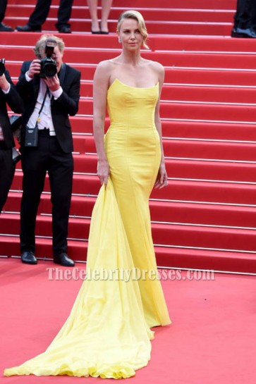 Charlize Theron Yellow Strapless Formal Dress Cannes Film Festival 2015 TCD6072