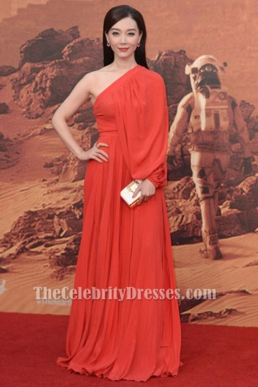 Chen Shu Red One Sleeve Evening Dress 'The Martian' London Premiere TCD6328