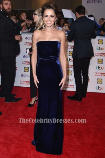 Cheryl Fernandez-Versini Royal Blue Velvet Evening Dress 2015 Pride Of Britain Awards TCD6334