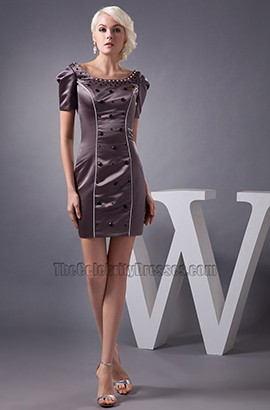 Chic Brown Short Mini Beaded Party Homecoming Dresses