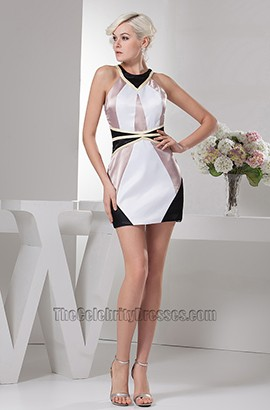 Chic Color Block Mini Party Cocktail Homecoming Dresses