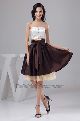 Chic Color Block Strapless A-Line Graduation Party Dresses