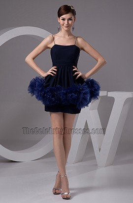 Chic Dark Navy Mini Spaghetti Strap Party Homecoming Dresses