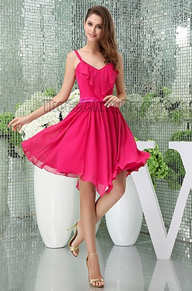 Chic Fuchsia Chiffon Party Graduation Homecoming Dresses