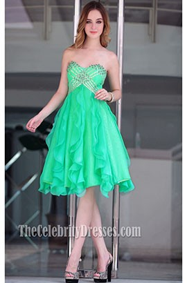 Chic Green Strapless A-Line Cocktail Party Homecoming Dresses 6012