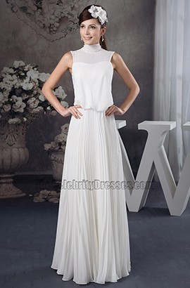 Chic High Neck Chiffon Floor Length Informal Wedding Dress
