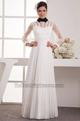 Long Sleeve A-Line High Neck Prom Gown Evening Dress