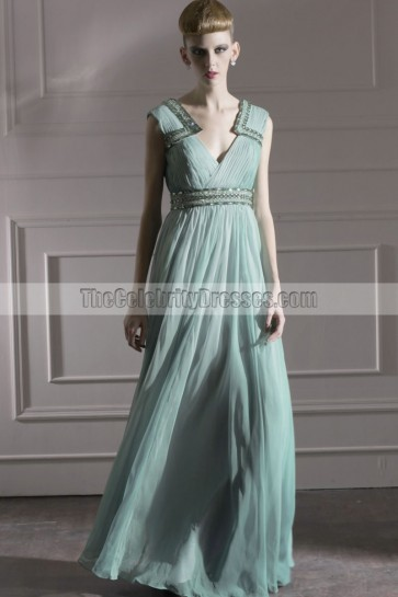 Chic Mint V-Neck Floor Length Formal Dress Prom Gown