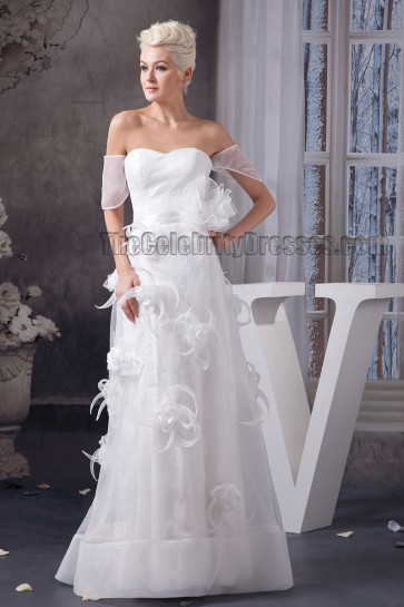 Chic Off-the-Shoulder A-Line Floor Length Wedding Dresses