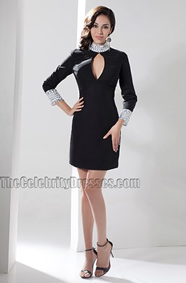Chic Short Black High Neck Cocktail Graduation Dresses