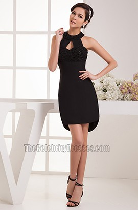 Chic Short Halter Black Party Homecoming Cocktail Dresses