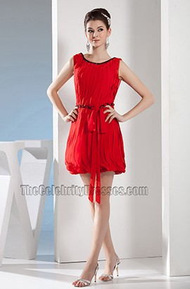 Short Mini Red Chiffon Party Graduation Homecoming Dresses