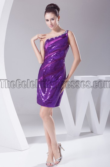 Chic Short Purple Sequined One Shoulder Party Dresses