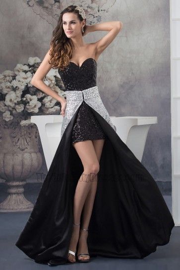 Chic Strapless Sweetheart Sequined Prom Gown Party Dress