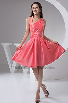 Chic Watermelon A-Line Graduation Party Cocktail Dresses