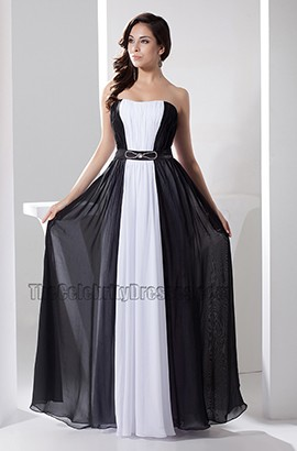 24dd784b8b9e0 White And Black Strapless Prom Gown Evening Formal Dresses ...