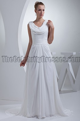 Chiffon A-Line Chapel Train Informal Wedding Dress