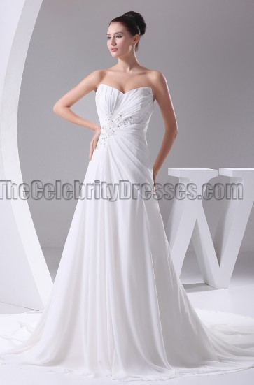Discount Strapless A-Line Beaded Wedding Dresses