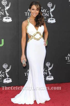 Chrishell Stause White Evening Dress 36th Annual Daytime Emmy Awards