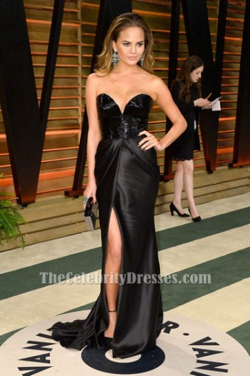 Chrissy Teigen Sexy Black Evening Gown 2014 oscars after party Dress TCD6117