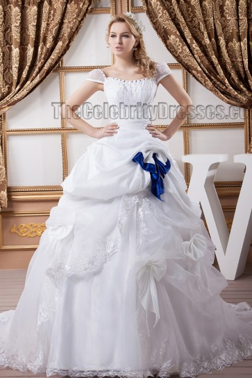Classic A-Line Cap Sleeve Chapel Train Beaded Wedding Dress