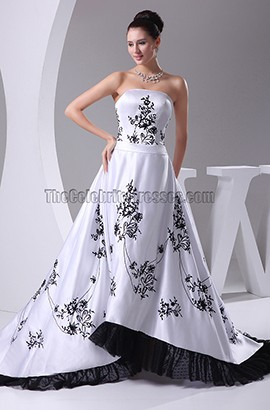 Classic Strapless Embroidered A-Line Wedding Dresses