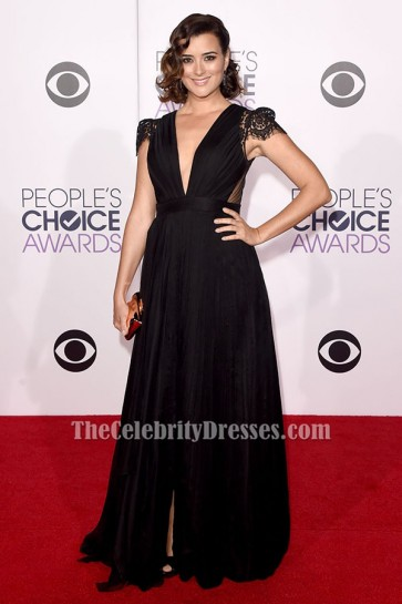 Cote de Pablo Black Cap Sleeves Formal Dress 2015 People Choice Awards TCD6421
