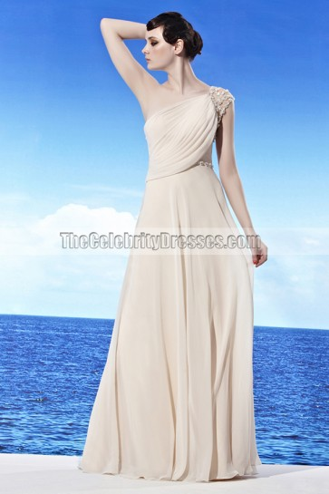 Cream Floor Length One Shoulder Beaded Prom Gown Evening Dress
