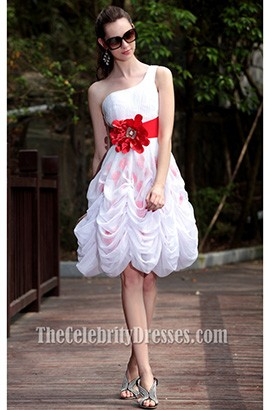 Cute A-Line Short One Shoulder Party Graduation Dresses