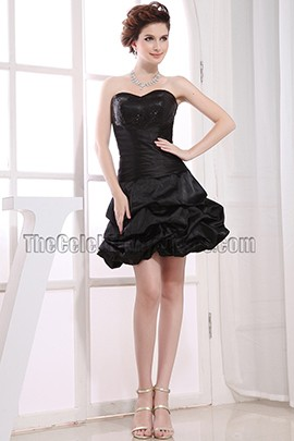 Cute Strapless A-Line Little Black Dress Party Dresses
