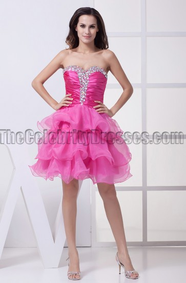 Fuchsia Strapless Mini Party Homecoming Sweet 16 Dresses