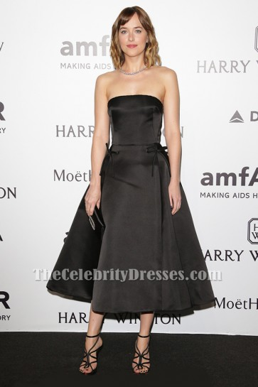 Dakota Johnson Black Strapless Evening Dress amfAR Milano 2015 TCD6331