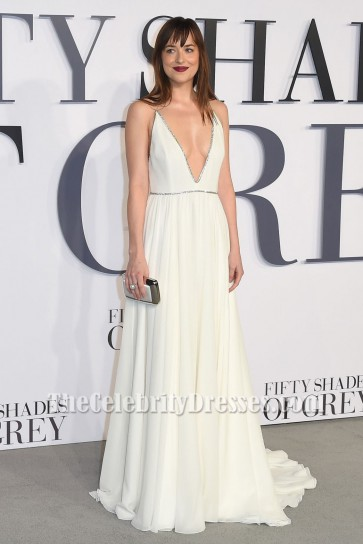 Dakota Johnson Deep V-Neck Evening Dress 'Fifty Shades Of Grey' London Premiere TCD6041