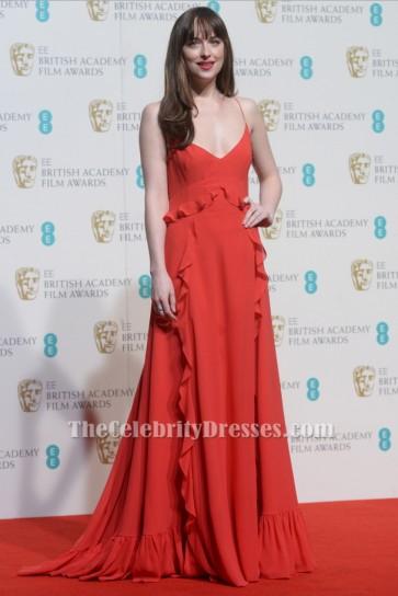 Dakota Johnson Red Evening Dress 2016 BAFTA Awards Red Carpet Gown TCD6553