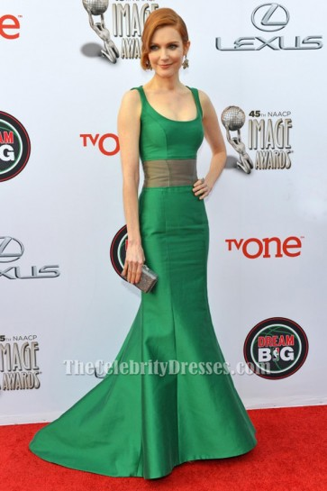 Darby Stanchfield Green Mermaid Formal Dress Naacp Image Awards Red Carpet Gown TCD6477
