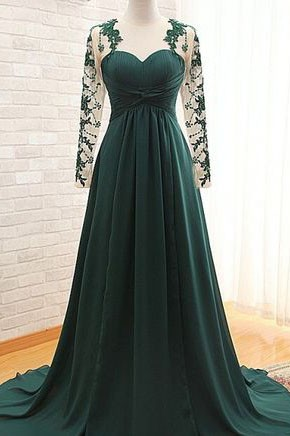 Elegant Dark Green Long Sleeve Prom Dresses Evening Gown TCD7305