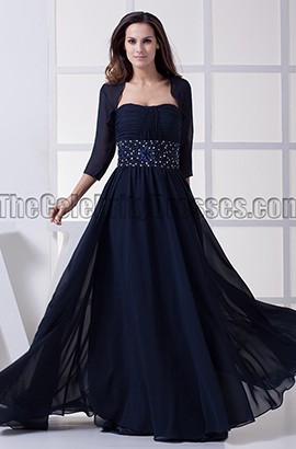 Dark Navy A-Line Chiffon Mother of the Bride Dress With A Wrap