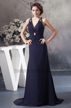 Dark Navy Backless Chiffon Evening Dress Formal Prom Gown
