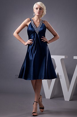 Dark Navy Knee Length V-Neck Cocktail Party Graduation Dresses