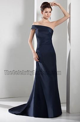Dark Navy One Shoulder Formal Gown Evening Prom Dresses