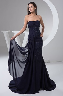 Dark Navy Strapless Chiffon Formal Dresses Evening Prom Gown