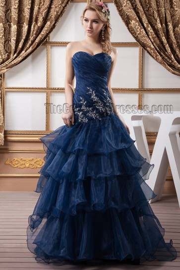 Dark Navy Strapless Organza Embroidered Evening Dress Prom Gown