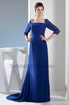 Dark Royal Blue Chiffon Formal Dress Evening Prom Gown