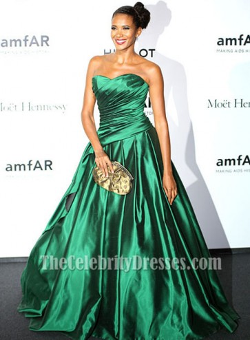 Denny Mendez Green A-Line Formal Dress amfAR Milano Gala 2013