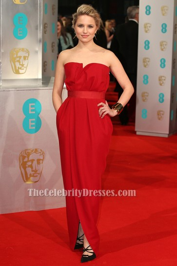 Dianna Agron Red Strapless Formal Dress Evening Gown 2015 BAFTAs Red Carpet TCD6180
